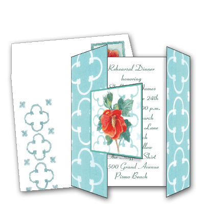Hibiscus Tri-Fold - ON SALE!Make an impression with our beautiful tri-fold card! The front opens up to show your personalized message inside. Includes coordinating envelope shown. Inkjet/laser compatible and available blank or personalized.